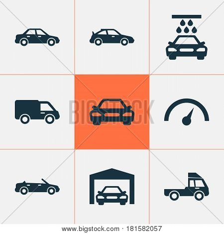 Automobile Icons Set. Collection Of Auto, Automobile, Chronometer And Other Elements. Also Includes Symbols Such As Auto, Garage, Van.