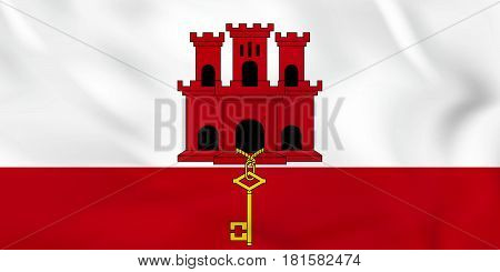 Gibraltar Waving Flag. Gibraltar National Flag Background Texture.