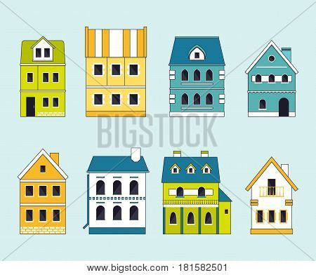 Collection of cute small traditional houses for town or village creation. City constructor set. EPS10 vector illustration in flat style.