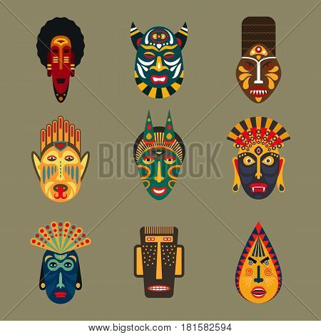 Set of ethnic masks in flat style. Collection of african tribal mask icons.