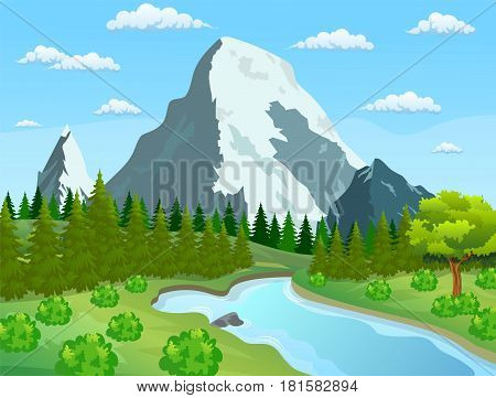 River flowing through the rocky hills. Summer landscape with mountains. River and the forest, nature landscape. vector illustration