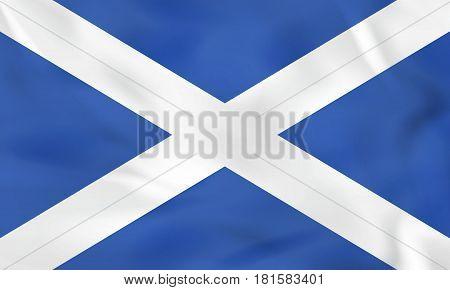 Scotland Waving Flag. Scotland National Flag Background Texture.