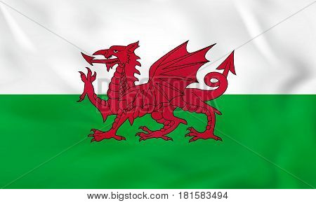 Wales Waving Flag. Wales National Flag Background Texture.