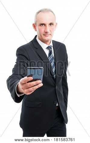Portrait Of Senior Elegant Man Holding Smartphone