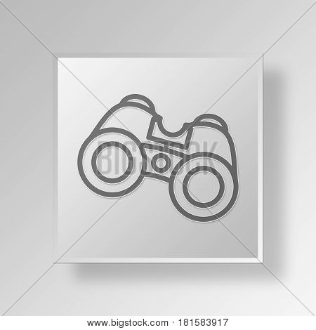 3D Symbol Gray Square Binoculars icon Business Concept
