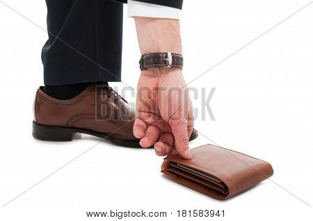 Close-up Of Man Picking Up His Wallet