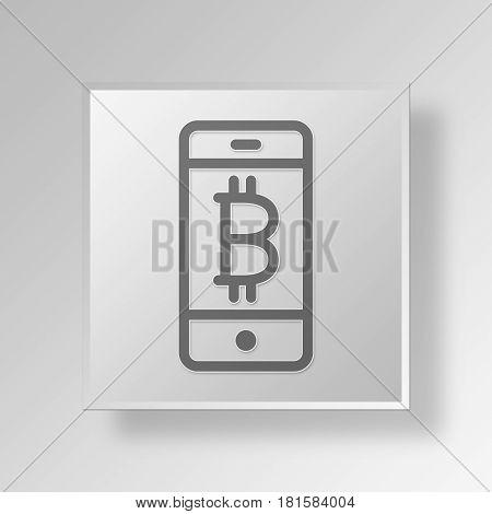 3D Symbol Gray Square Bitcoin Phone icon Business Concept