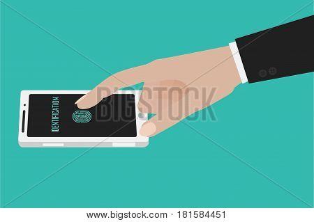 Hand Touching Smartphone Screen