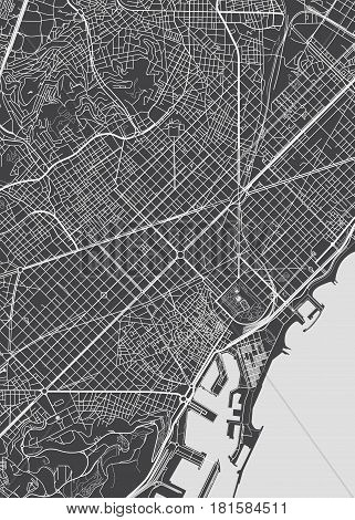 Black and white Barcelona city plan, detailed vector map