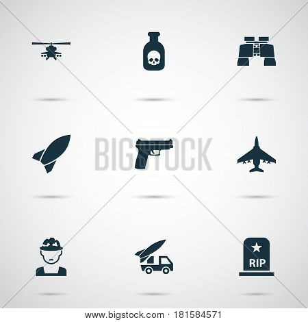Army Icons Set. Collection Of Chopper, Weapons, Glass And Other Elements. Also Includes Symbols Such As Oficer, Ordnance, Zoom.