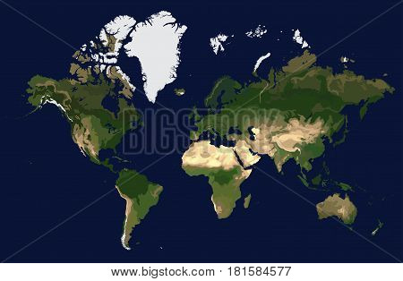 Coloured physical map of the world view from space