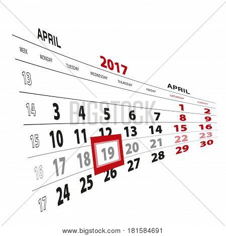 19 April Highlighted On Calendar 2017. Week Starts From Monday.