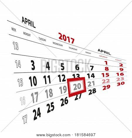 20 April Highlighted On Calendar 2017. Week Starts From Monday.