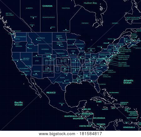 Detailed map of the USA futuristic style