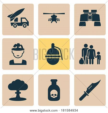 Battle Icons Set. Collection Of Atom, Cutter, Glass And Other Elements. Also Includes Symbols Such As Chopper, Soldier, Refugee.