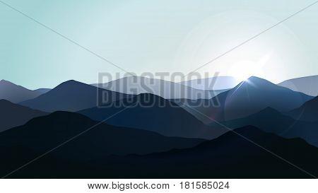 Landscape fog in the blue mountains vector illustration