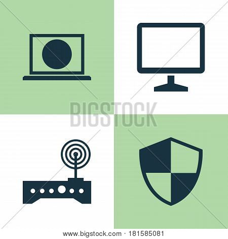 Laptop Icons Set. Collection Of Desktop, Defense, Web And Other Elements. Also Includes Symbols Such As Modem, Desktop, Protection.
