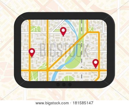 GPS navigator with generic city map and pinpoints. EPS10 vector illustration in flat style.