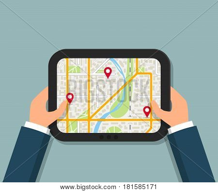 Hands holding tablet with navigation app or online city map. EPS10 vector illustration in flat style.