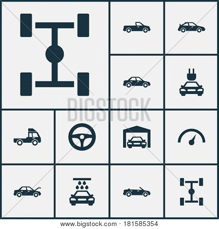 Auto Icons Set. Collection Of Fixing, Crossover, Van And Other Elements. Also Includes Symbols Such As Pickup, Wheel, Lorry.