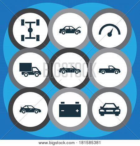Car Icons Set. Collection Of Accumulator, Convertible Model, Carriage And Other Elements. Also Includes Symbols Such As Auto, Battery, Carriage.