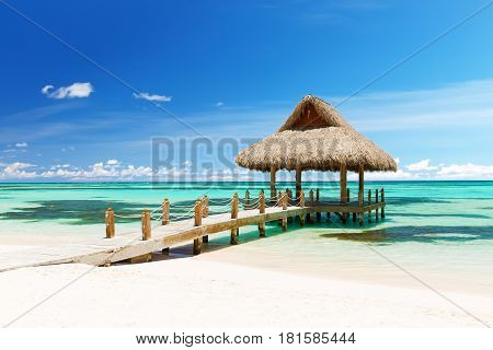Beautiful Gazebo On The Tropical White Sandy Beach In Punta Cana, Dominican Republic