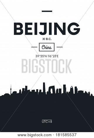 Poster city skyline Beijing, Flat style vector illustration