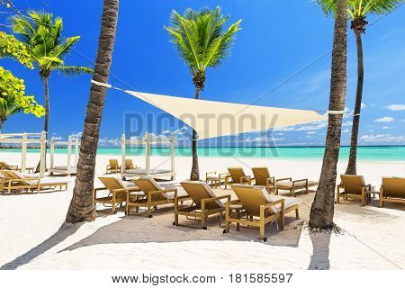 Beautiful White Sandy Beach Of A Luxury Resort