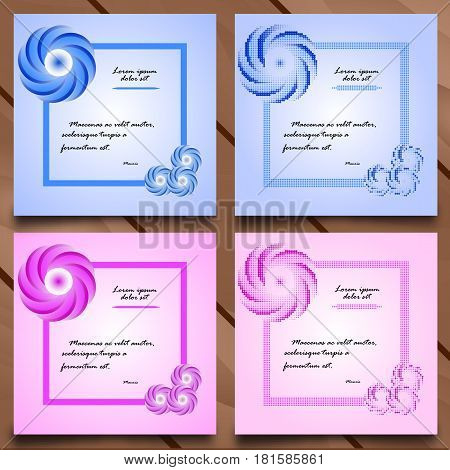 Vector cards in stylized flower style. Floral decor. Style embroidery. Template for card, invitation, thank you message, bookmarks. Colorful labels, tags with place for text