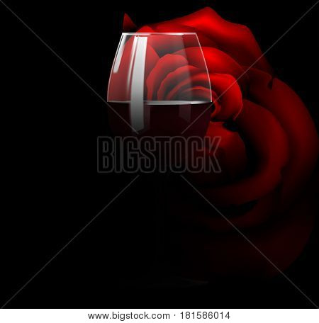 Wine with a glass of red wine on a black background with a rose