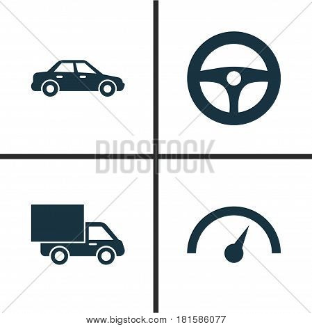 Auto Icons Set. Collection Of Chronometer, Lorry, Drive Control And Other Elements. Also Includes Symbols Such As Steering, Speed, Van.
