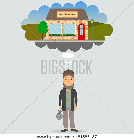 Homeless unemployed man dreaming of home. Beggar in rags. EPS10 vector illustration in flat style.