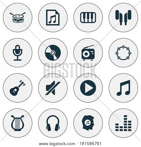 Audio Icons Set. Collection Of Music, Timbrel, Tuner And Other Elements. Also Includes Symbols Such As Mute, Headphone, Music.
