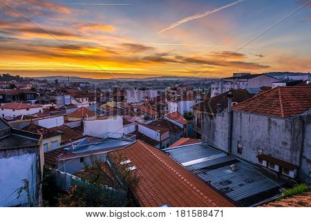 Early morning Porto Portugal. Aerial view with Vila Nova de Gaia city on background