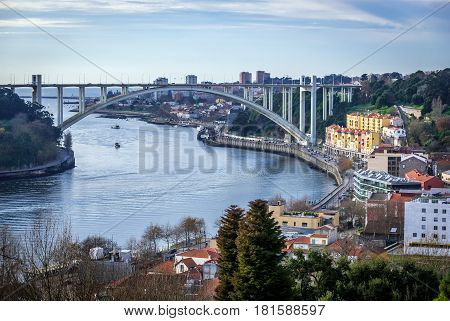 Arrabida Bridge connected Porto and Vila Nova de Gaia. View from Crystal Palace Park