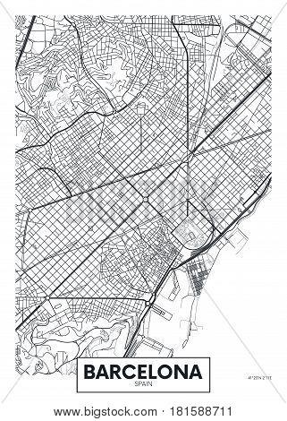 Poster map city Barcelona, Detailed vector illustration