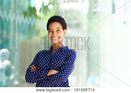 Smiling African Business Woman Outside In City