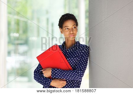 Attractive African American Business Woman Standing Outside