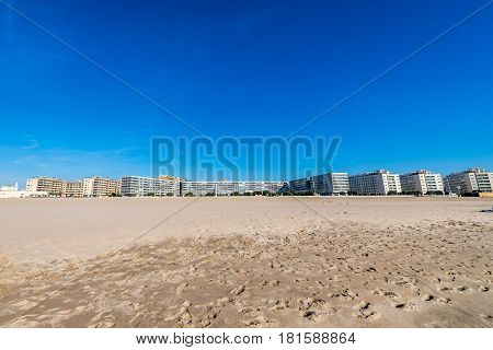 Houses over a beach in Matosinhos city Portugal
