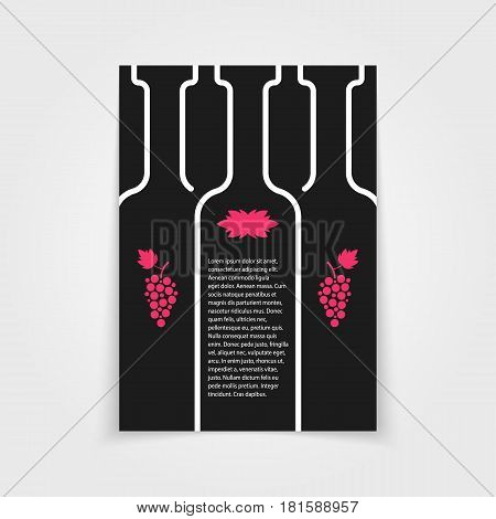 black brochure for wine store. concept of drunk, alcoholic, celebrate, cocktail, glassware, sommelier, postcard. isolated on gray background. flat style trend modern logo design vector illustration