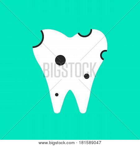 holey white tooth icon. concept of clinic, treatment, carious, stomatological clinic, implant, diagnosis of teeth. isolated on green background. flat style trend modern logo design vector illustration