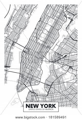 Poster map city New York, Detailed vector illustration