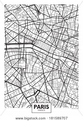 Poster map city Paris, Detailed vector illustration