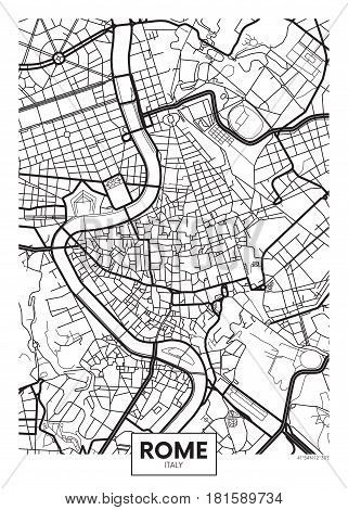 Poster map city Rome, Detailed vector illustration