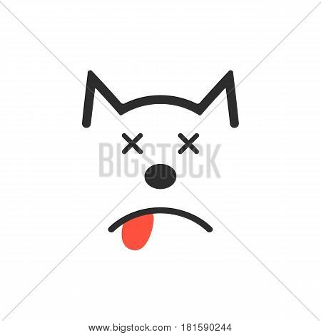 simple dead dog icon. concept of poisoning, poor diet, loss, mercy-killing, vet clinic, veterinarian. isolated on white background. flat style trend modern logotype design vector illustration