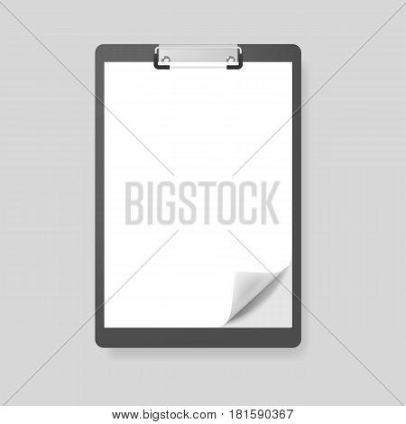 Realistic clipboard folder with blank white sheet of paper with curled corner, vector mockup