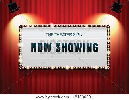 theater sign on curtain with spotlight vector illustration