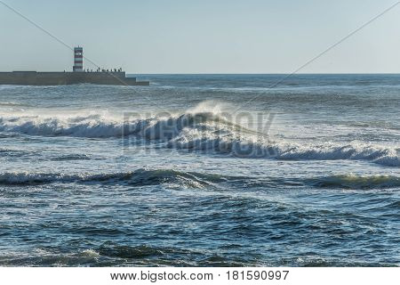 Small lighthouse in Foz do Douro parish in Porto Portugal