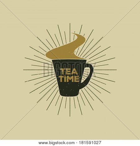 Vintage emblem of tea mug with steam, suitable for printing on a vest or just for decoration, vector illustration