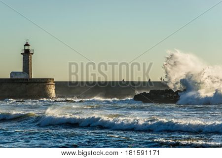Distance view on Felgueiras Lighthouse in Porto city Portugal